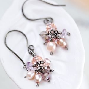 Pink Sparkly Cluster Earrings NEW! Handmade